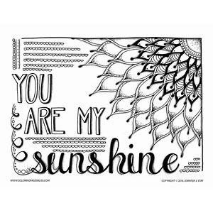300x300 You Are My Sunshine Coloring Page Adult Coloring, Sunshine
