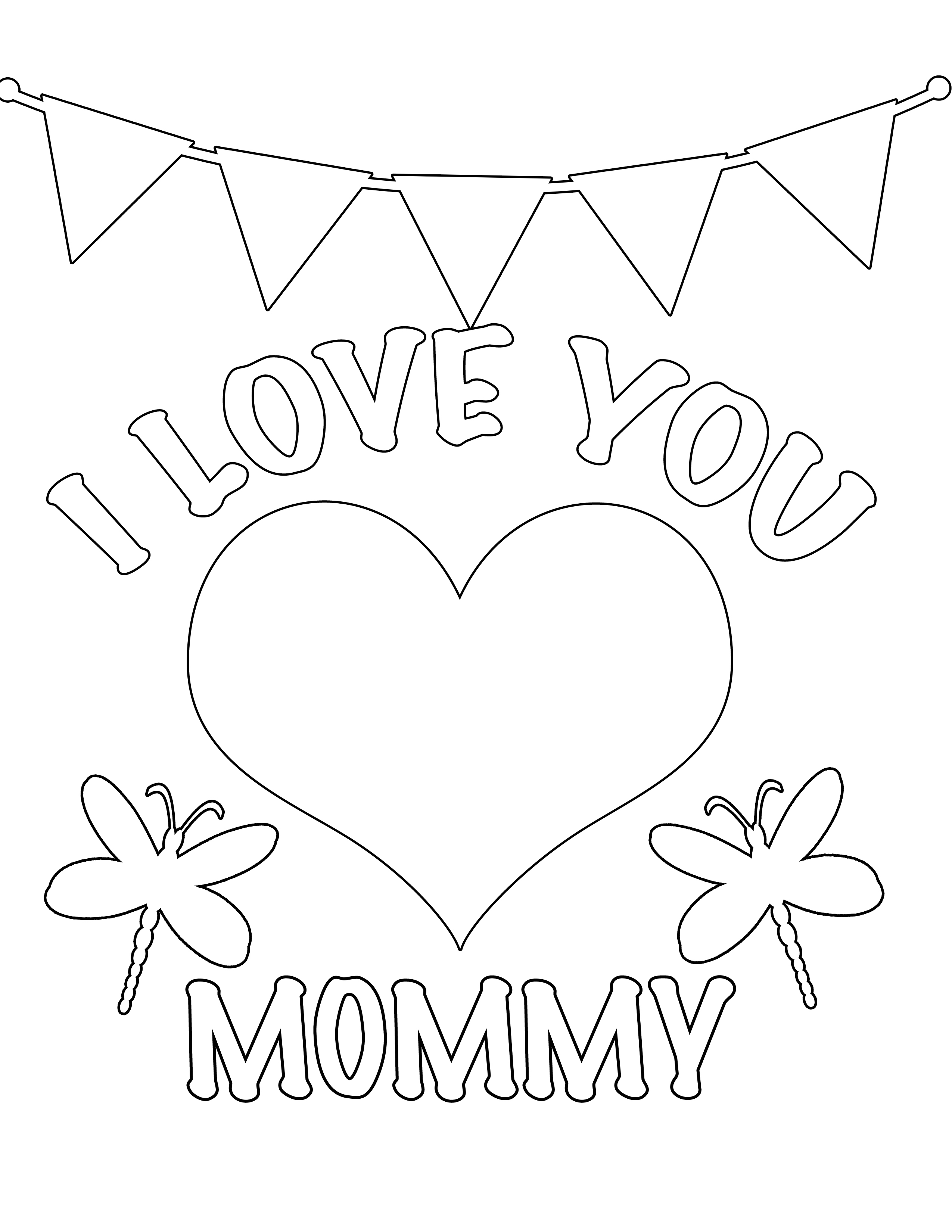 2550x3300 I Love You Mommy Free Coloring Page Kids, Love, Valentines Day