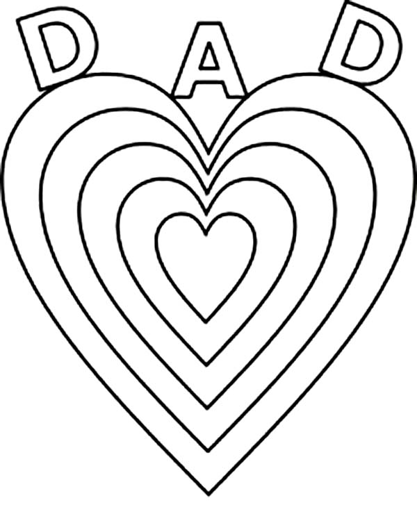 600x763 Fathers' Day, Big Love For Daddy On Fathers Day Coloring Page