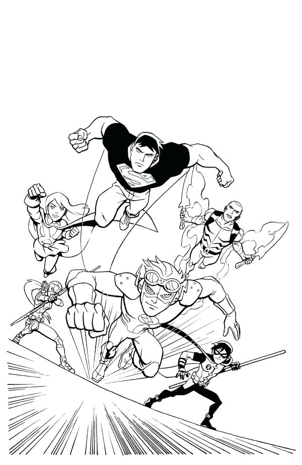 600x924 Young Justice Coloring Pages Young Justice League In Action