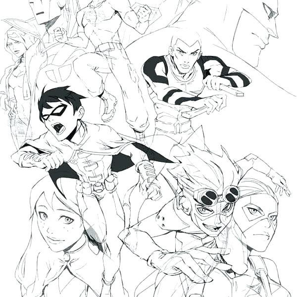 600x600 Christmas Coloring Pages Young Justice Justice League Coloring