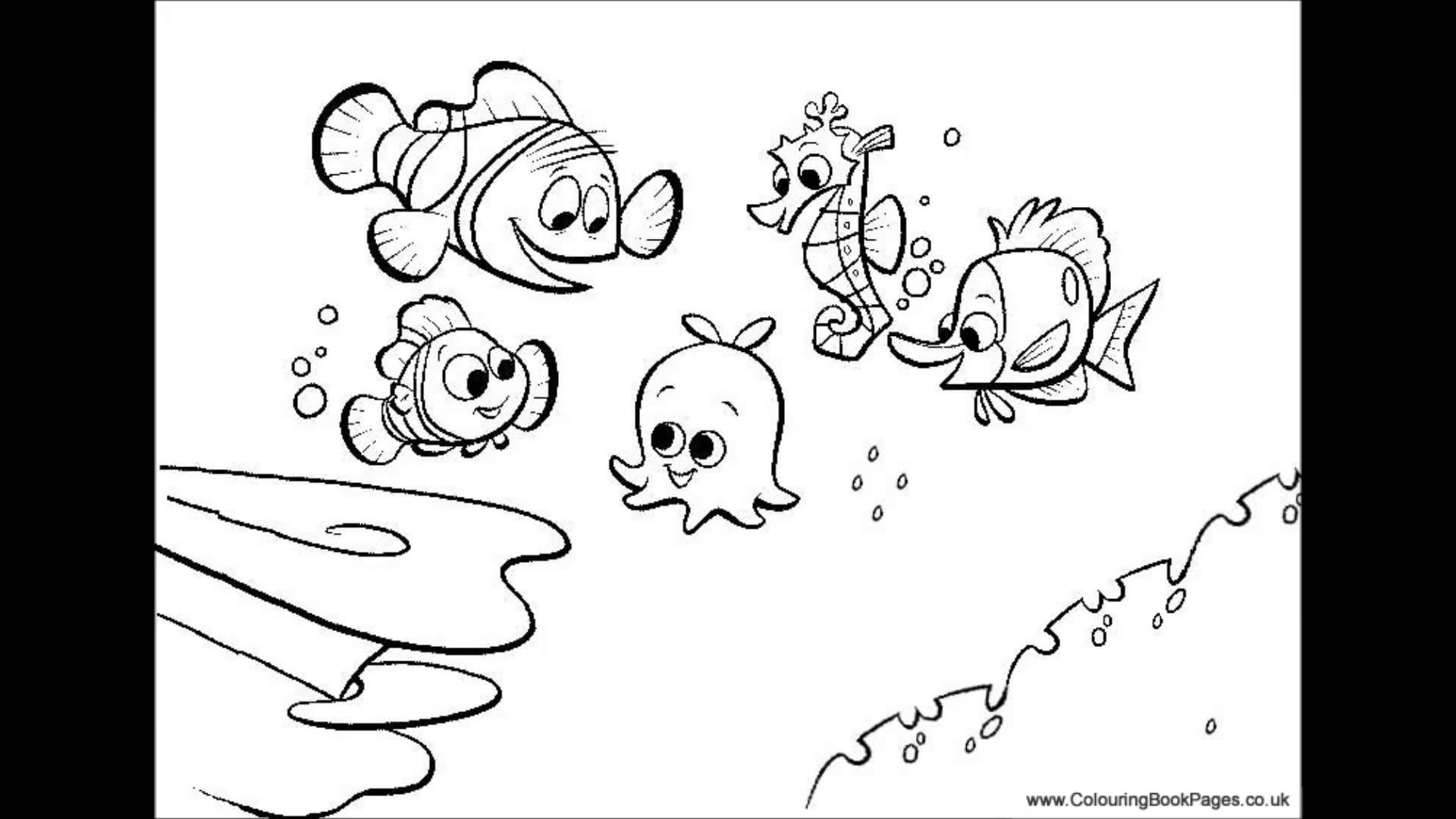 1920x1080 Finding Nemo Colouring Pages And Kids Game Youtube Within Coloring
