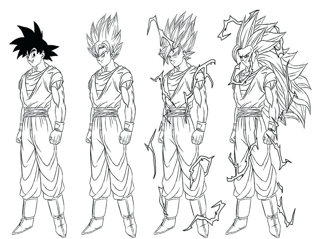1024x768 Dragon Ball Z Vegeta Coloring Pages Aecost Goku Printable For Kids