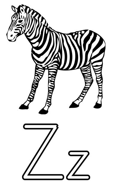 376x600 Zebra Coloring Page