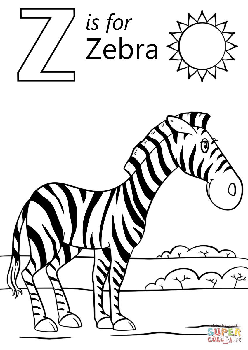 849x1200 Letter Z Is For Zebra Coloring Page Free Printable Pages