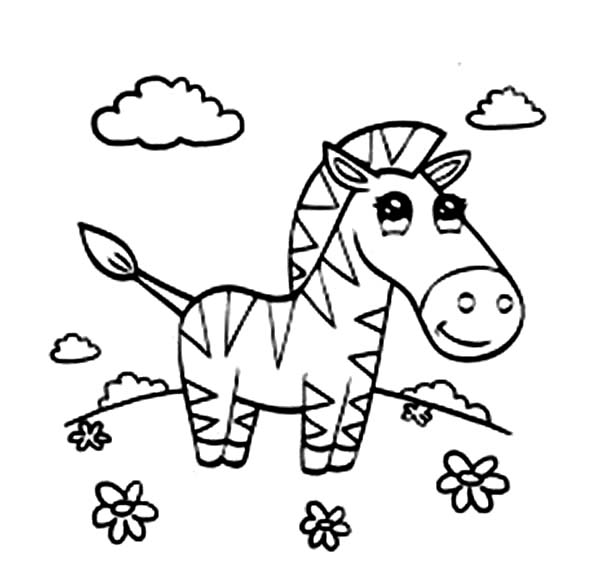 600x564 Beautiful Zebra Coloring Page