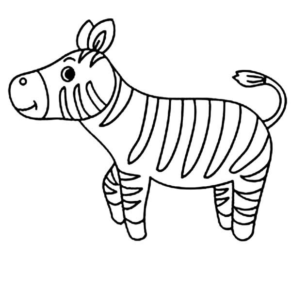 600x600 Cute Little Zebra Coloring Page