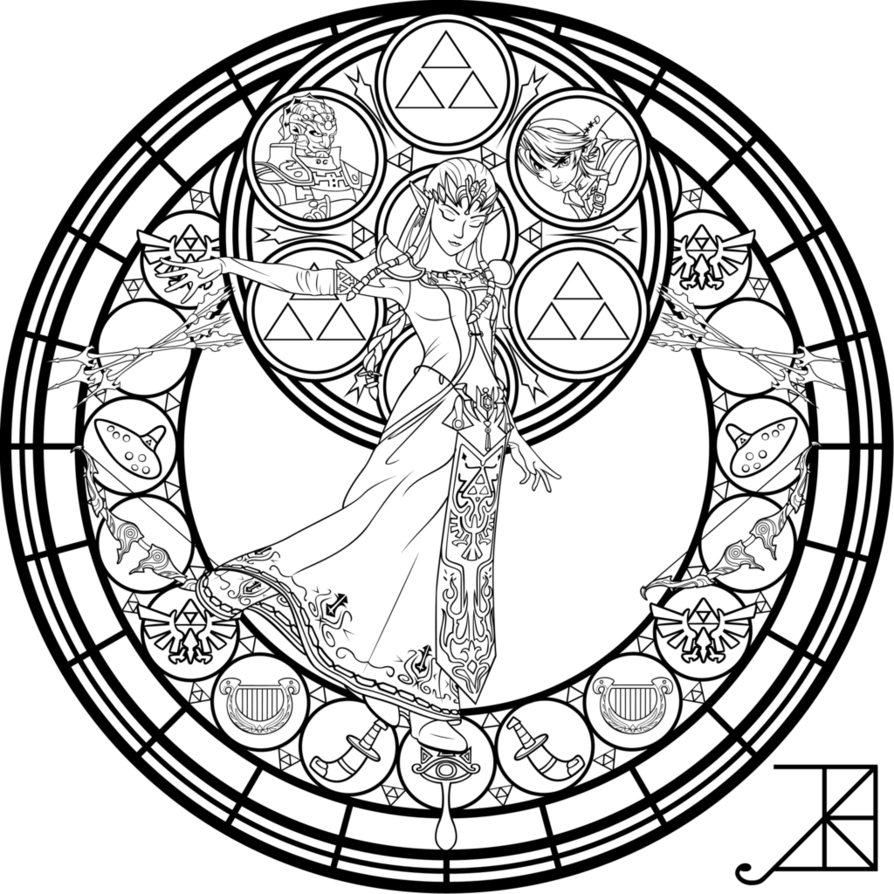 894x894 Stained Glass Zelda Coloring Page