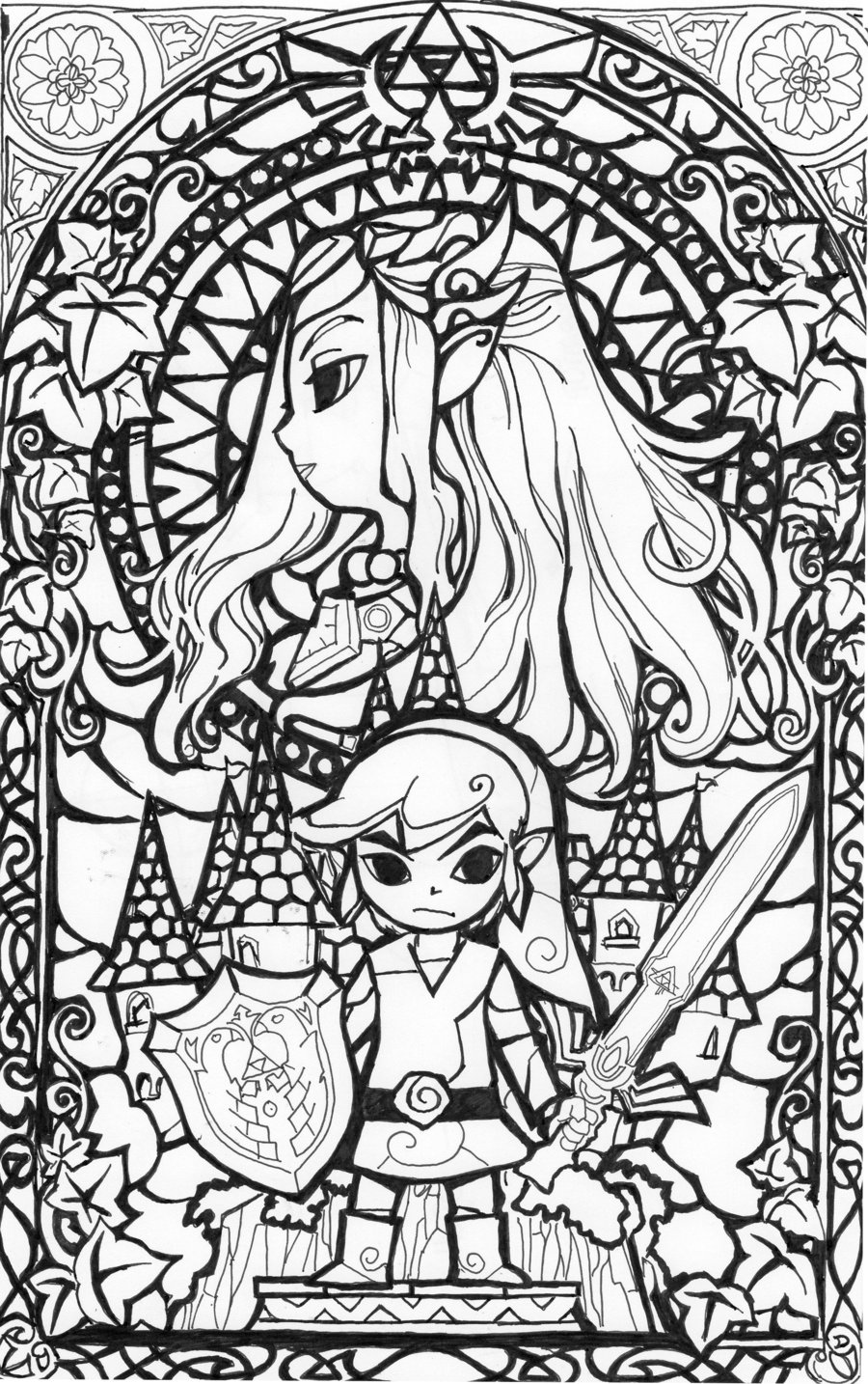 900x1434 Awesome Stained Glass Zelda Coloring Page Gonna Try This