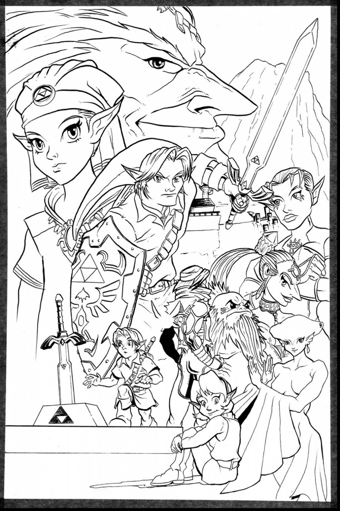 1172x1760 Wind Coloring Pages Great Legend Of Zelda Waker Link