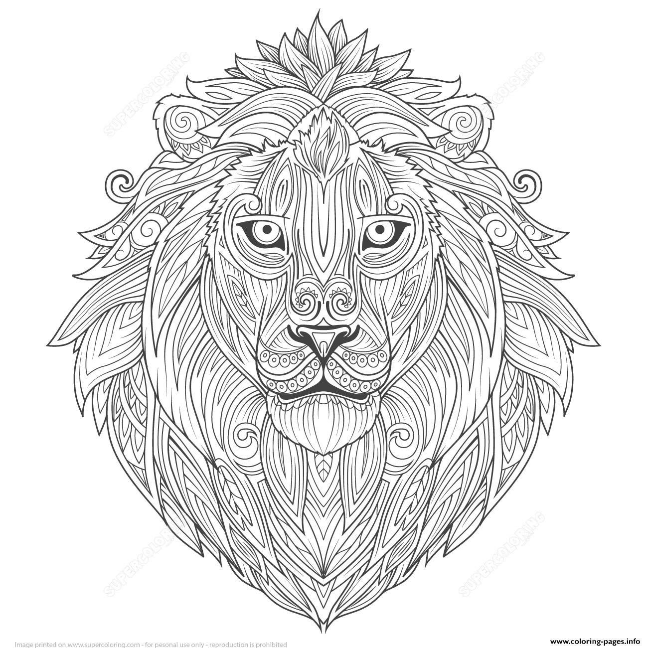 1300x1300 Lion Ethnic Zentangle Adults Coloring Pages Printable Unusual