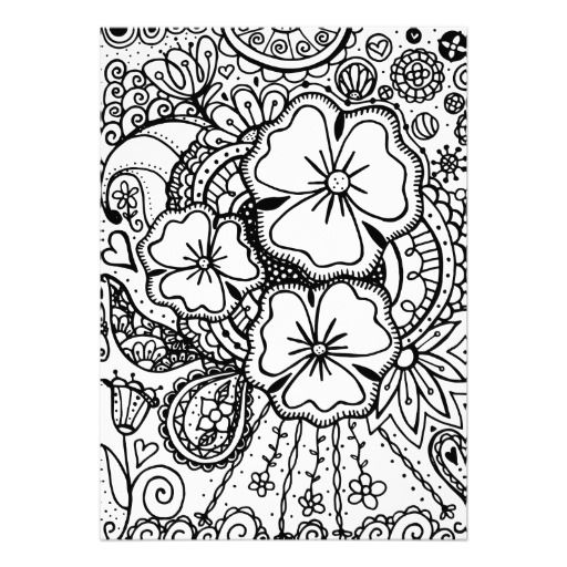 512x512 Flower Abstract Doodle Zentangle Paisley Coloring Pages Colouring