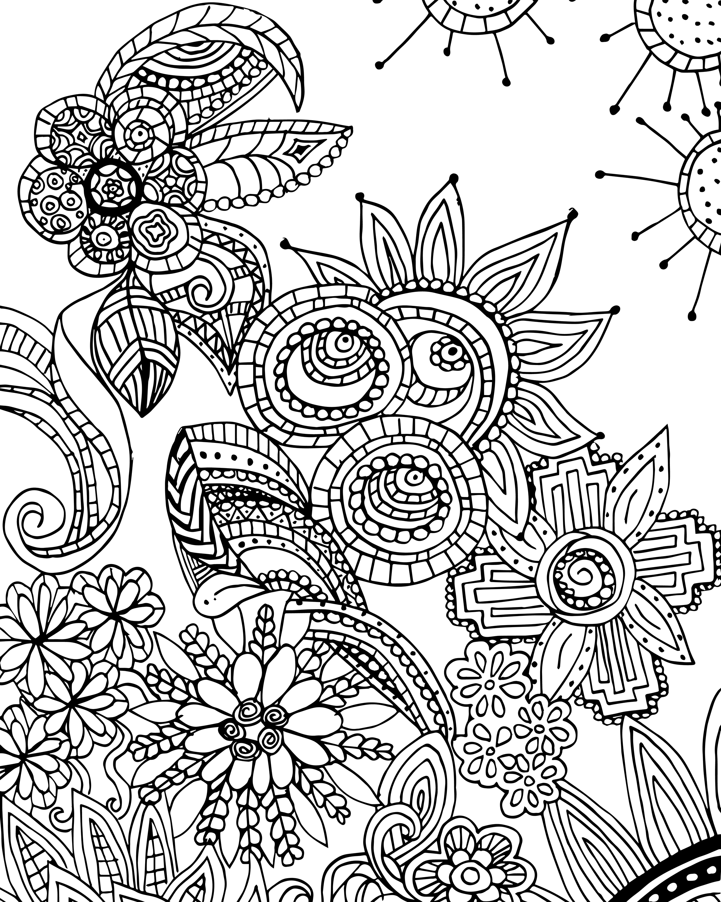 2400x3000 Fresh Free Coloring Page For Adults Flower Zen Doodle Designs