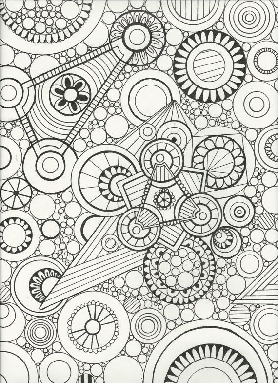 570x784 Original Hand Drawn,zen Doodle Art,adult Coloring Page,wall Art