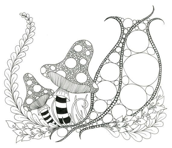 570x491 Printable Zendoodle Adult Coloring Page Etsy, Doodles And Zentangles
