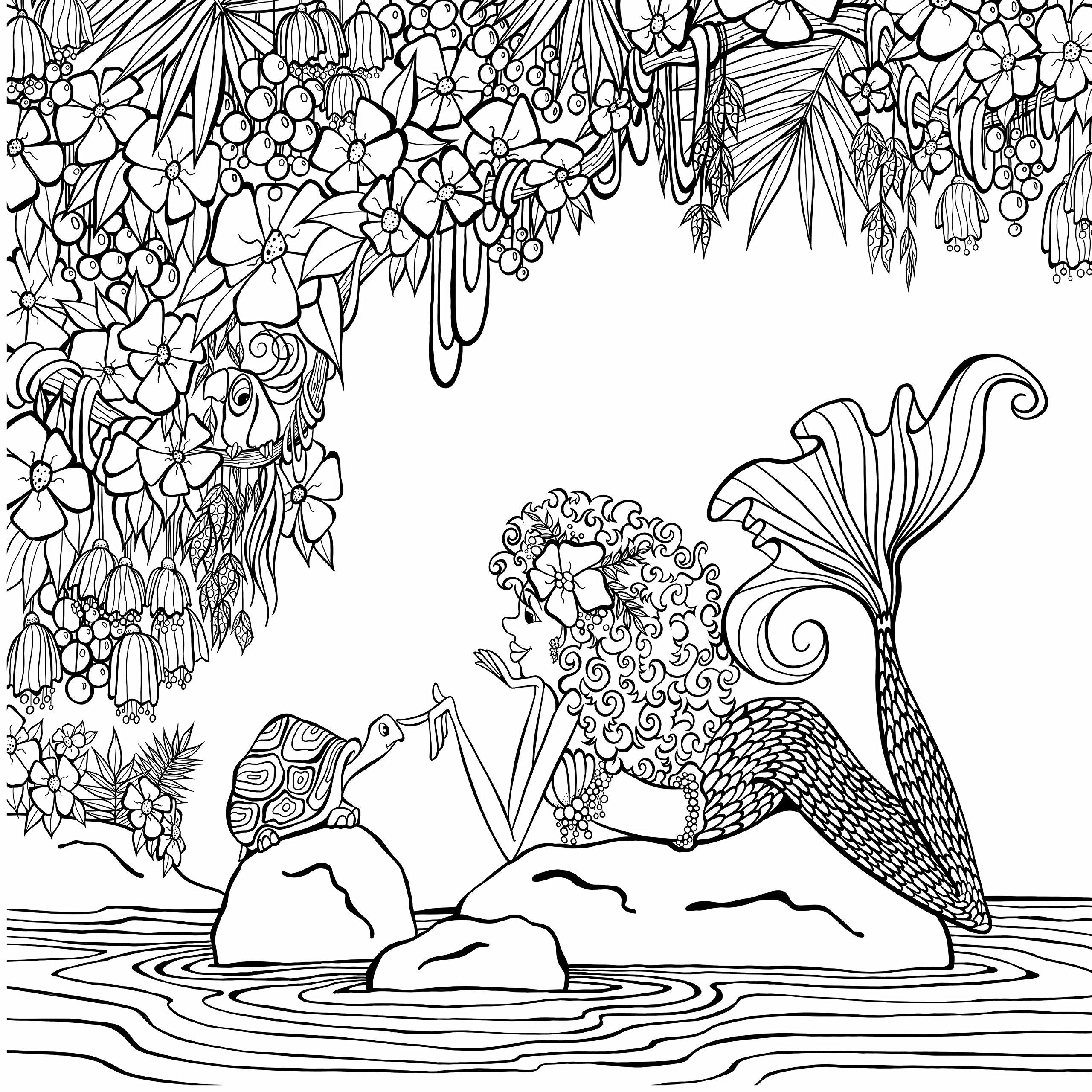 2560x2560 Zendoodle Coloring Presents Mermaids In Paradise