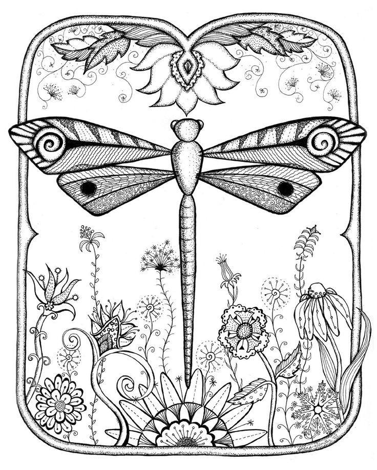 736x918 Dragonfly Garden Abstract Doodle Zentangle Zendoodle Paisley