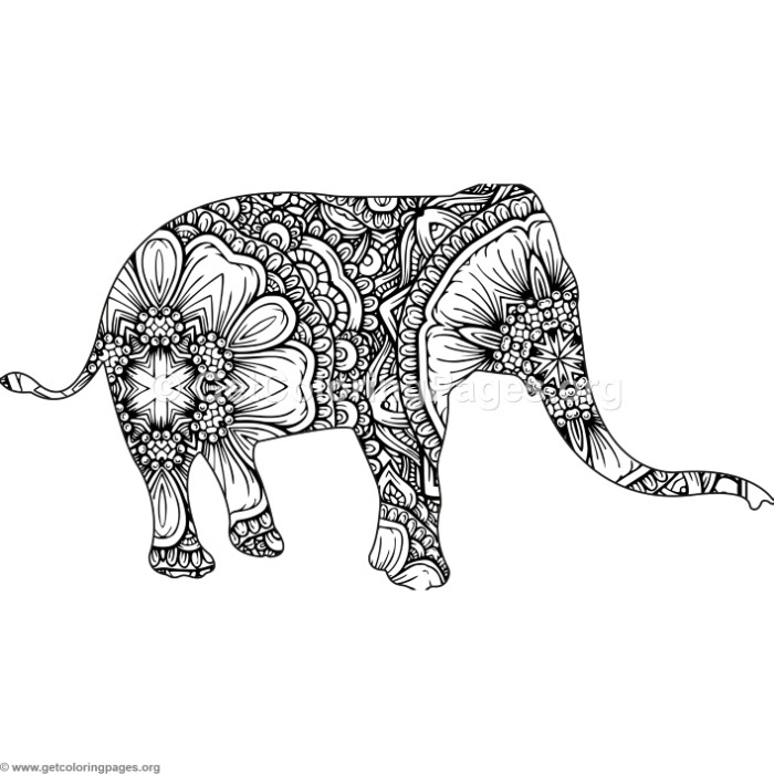 700x700 Zentangle Animal Elephant Coloring Pages