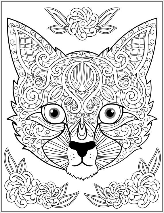 Zentangle Cat Coloring Pages