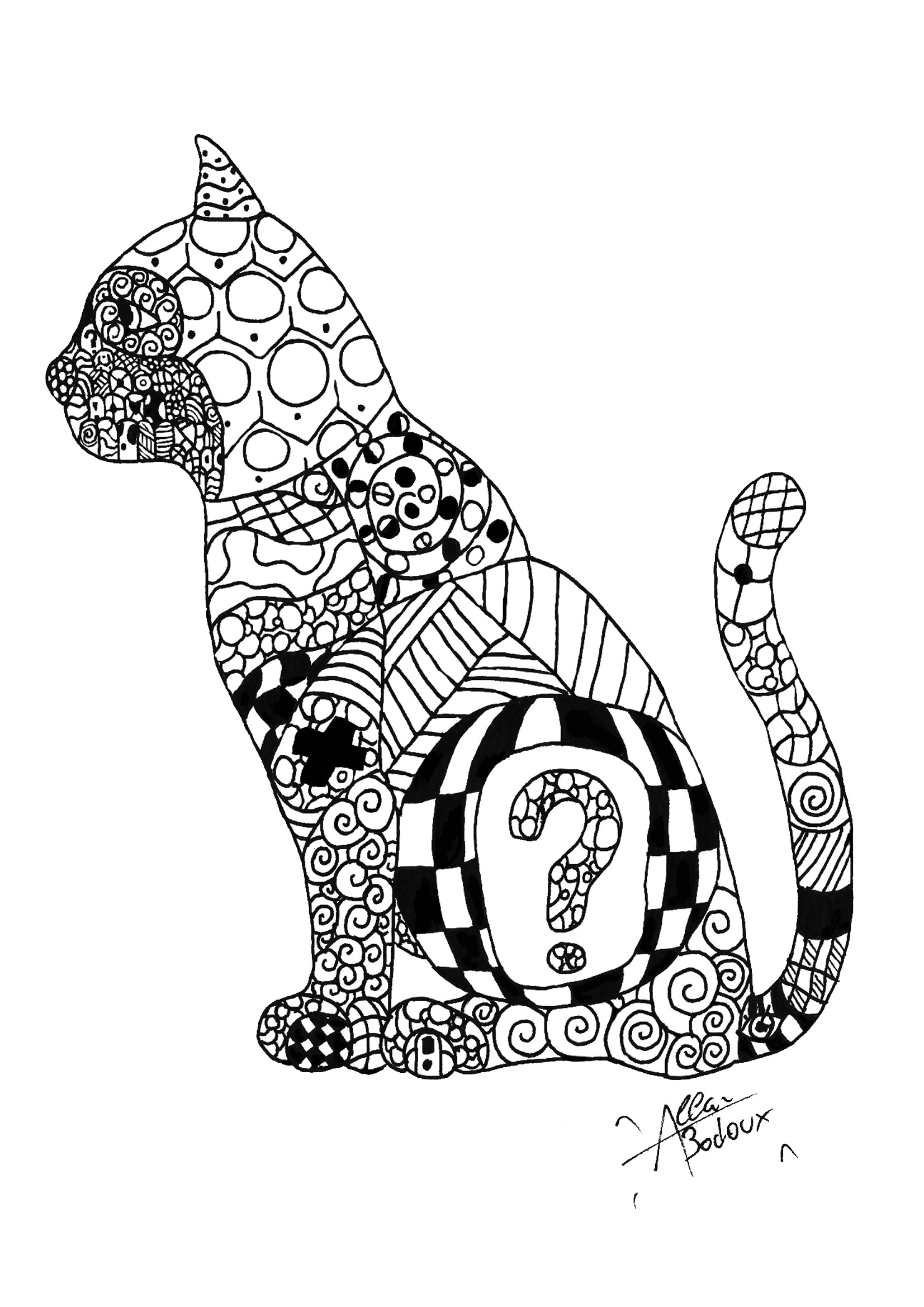 1653x2338 Cat Coloring Pages For Adults Fresh Zentangle Cat Zentangle