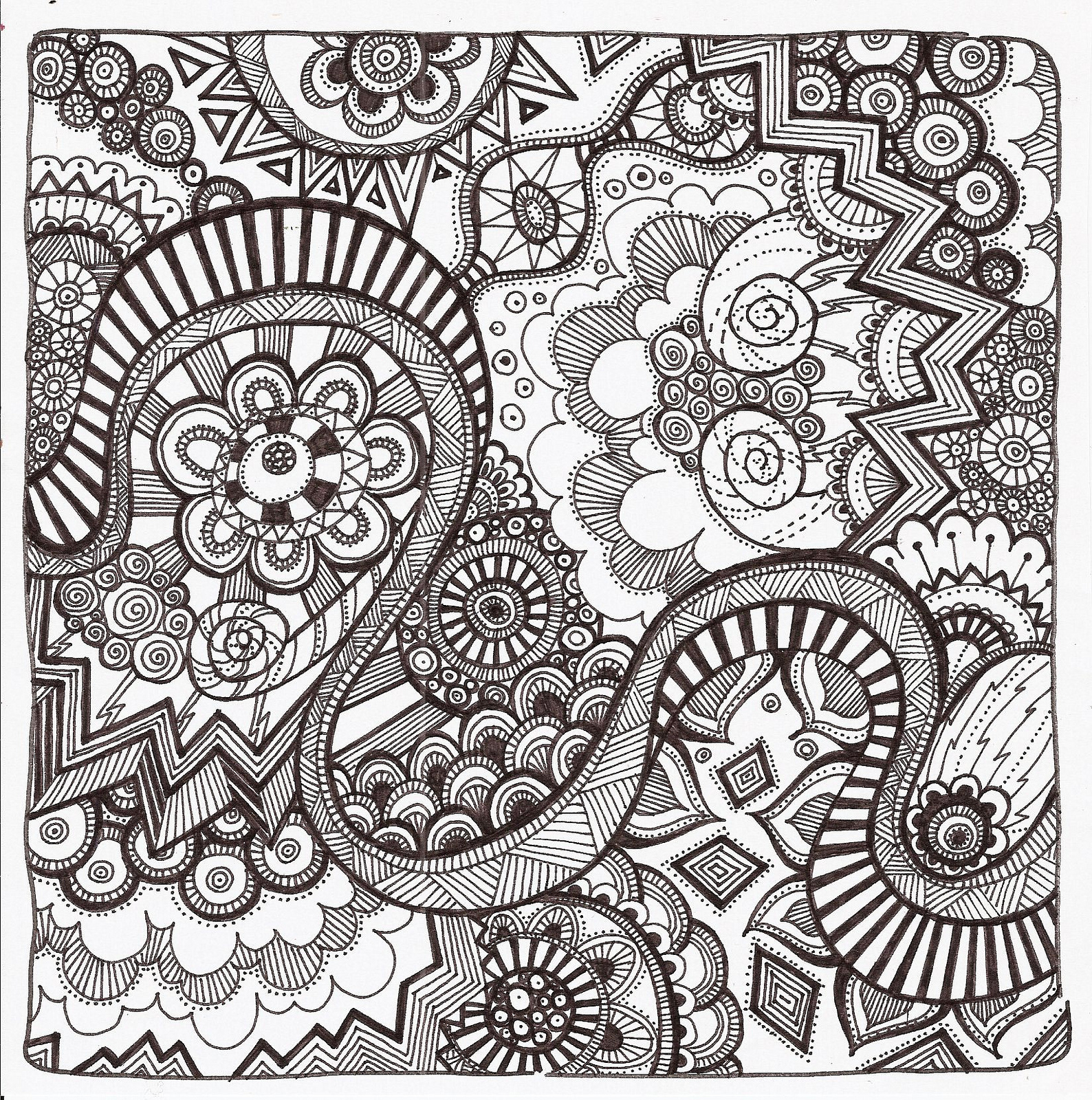 1588x1600 Free Printable Zentangle Coloring Pages For Adults