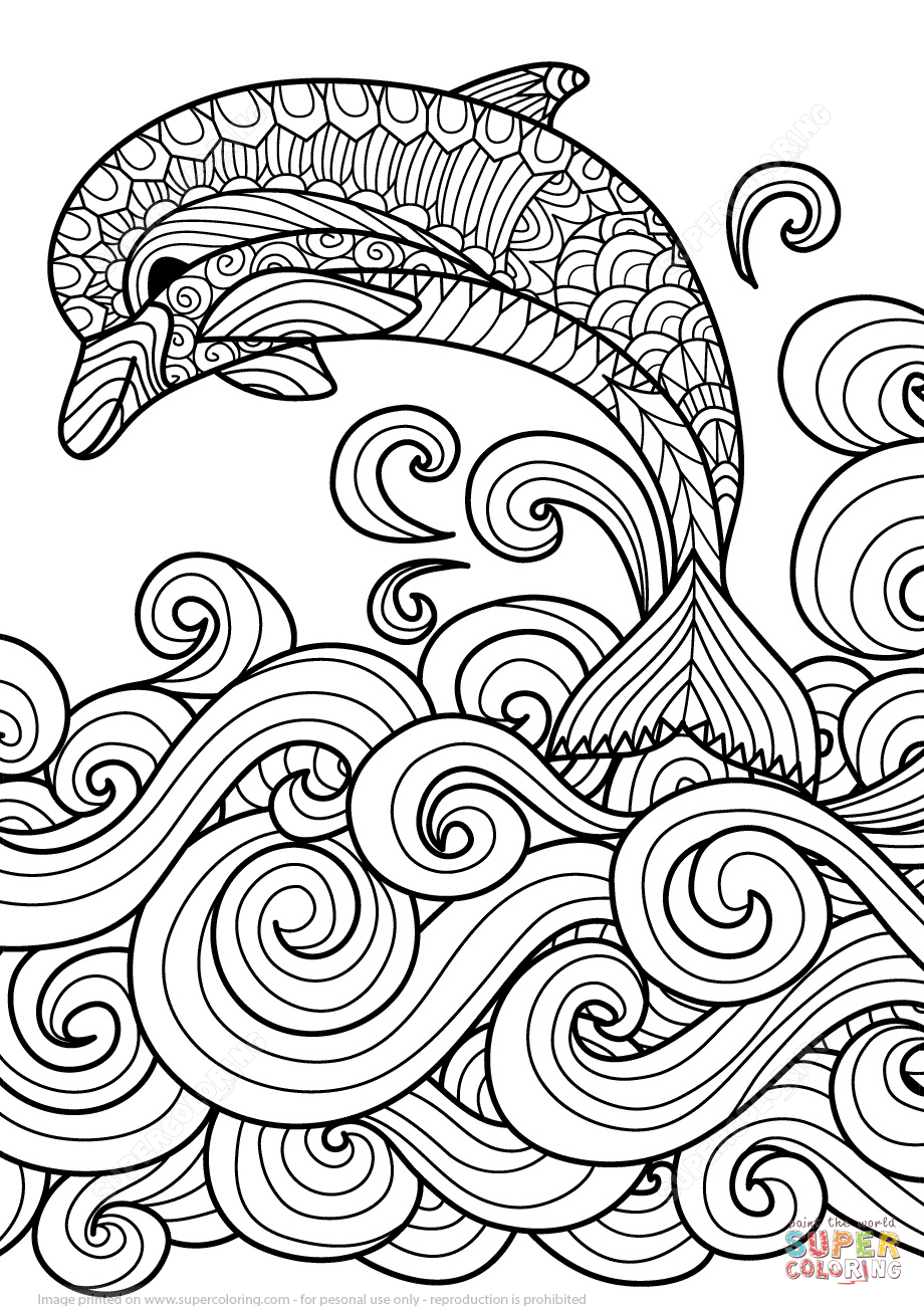920x1300 Zentangle Dolphin With Scrolling Sea Wave Coloring Page Free