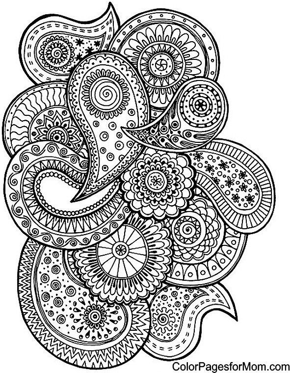 591x760 Paisley Coloriage Abstract Doodle Zentangle Coloring Pages