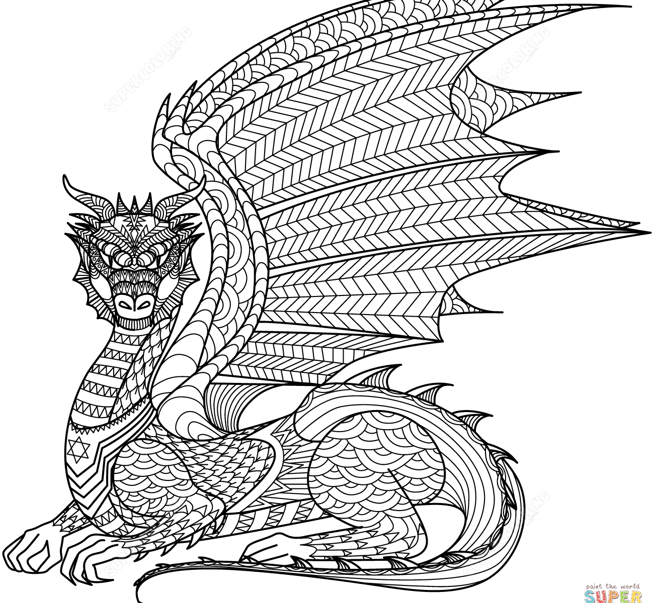 1300x1200 Wolf Zentangle Coloring Page Free Printable Extreme Pages