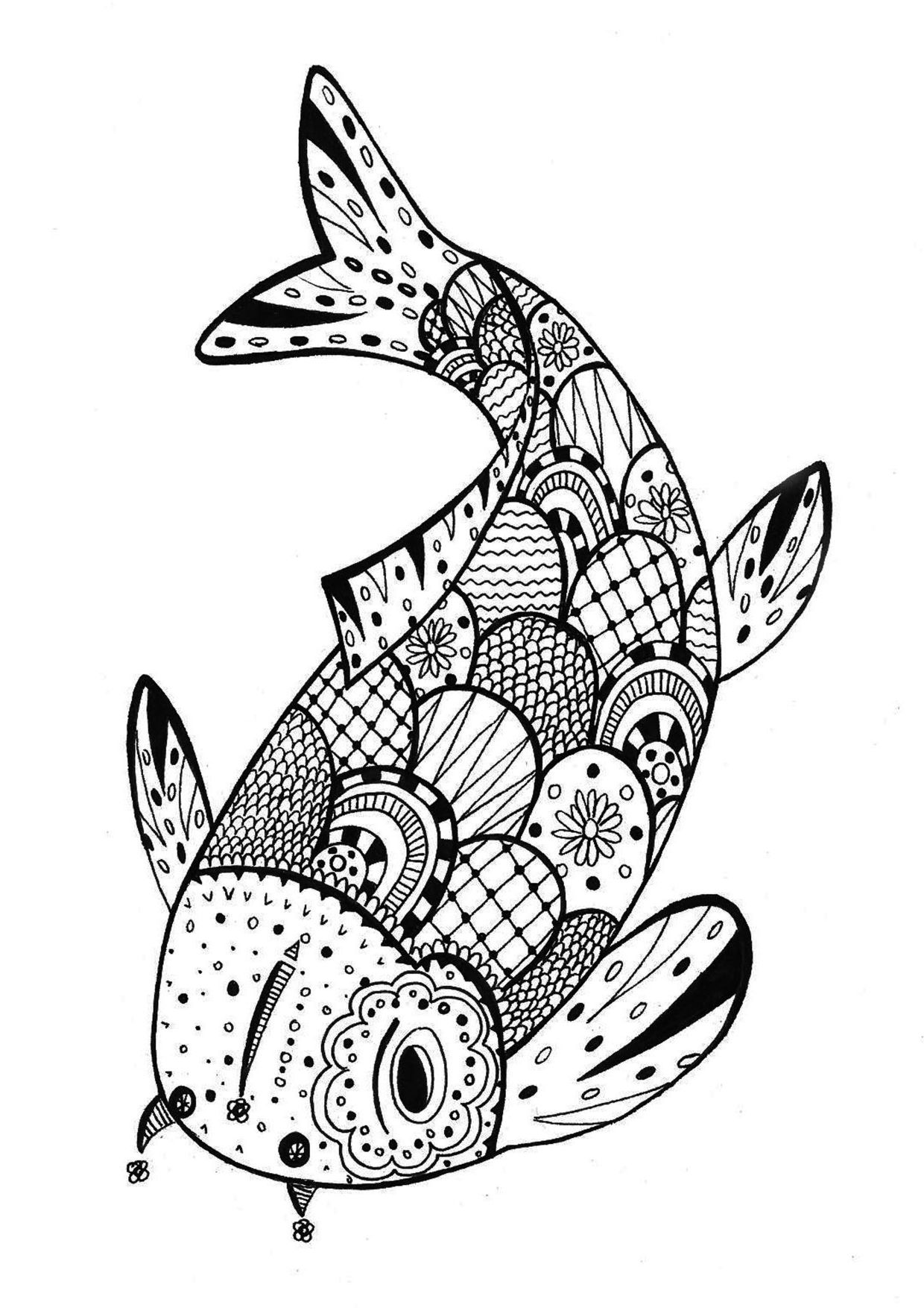 1240x1754 Inspiring Fish Zentangle Rachel Coloring Pages For Adults Of Ideas
