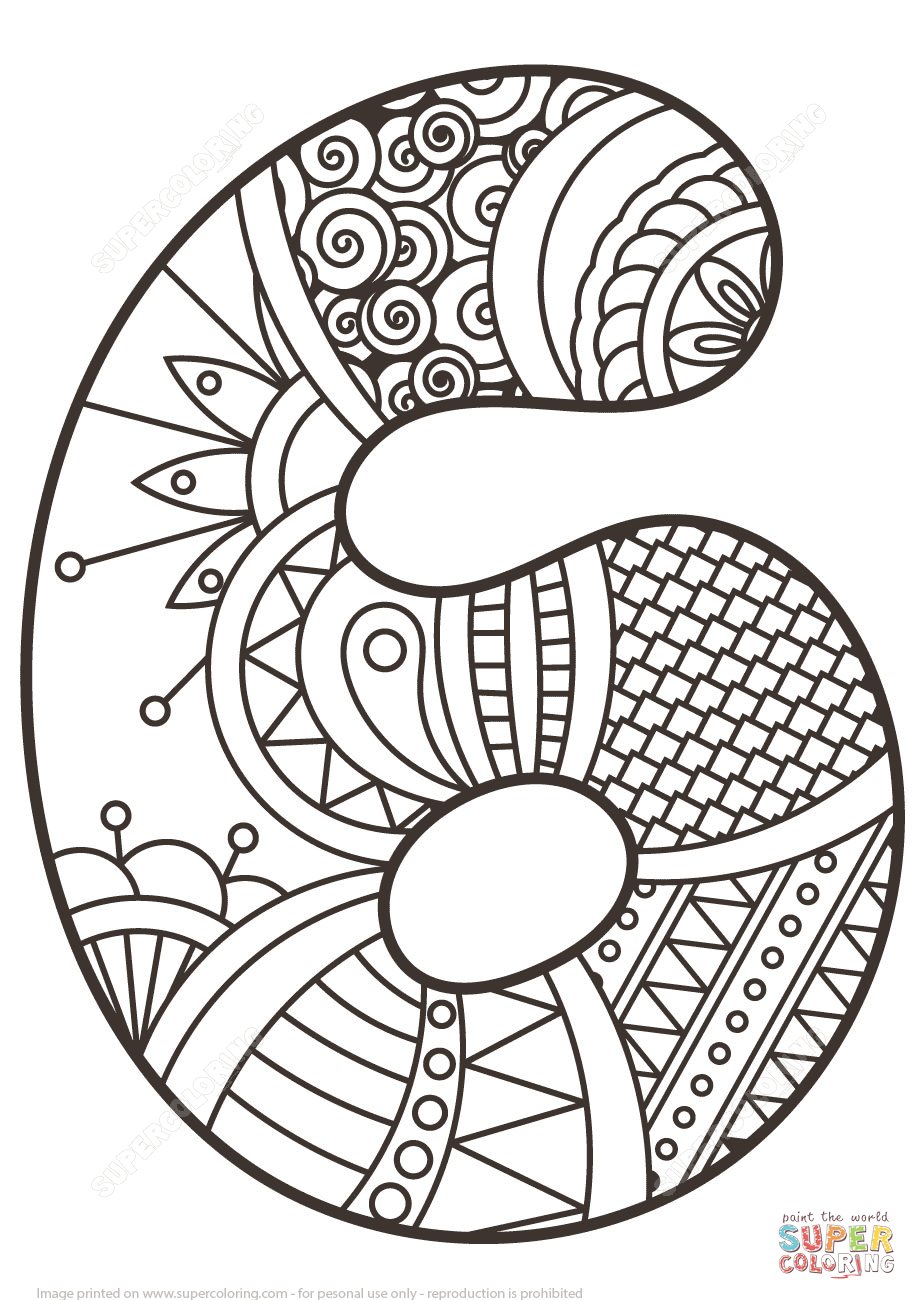 917x1300 Number Zentangle Super Coloring Eclectic Letters Fonts