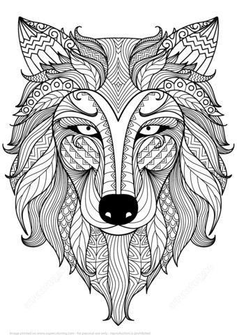 340x480 Wolf Zentangle Coloring Page