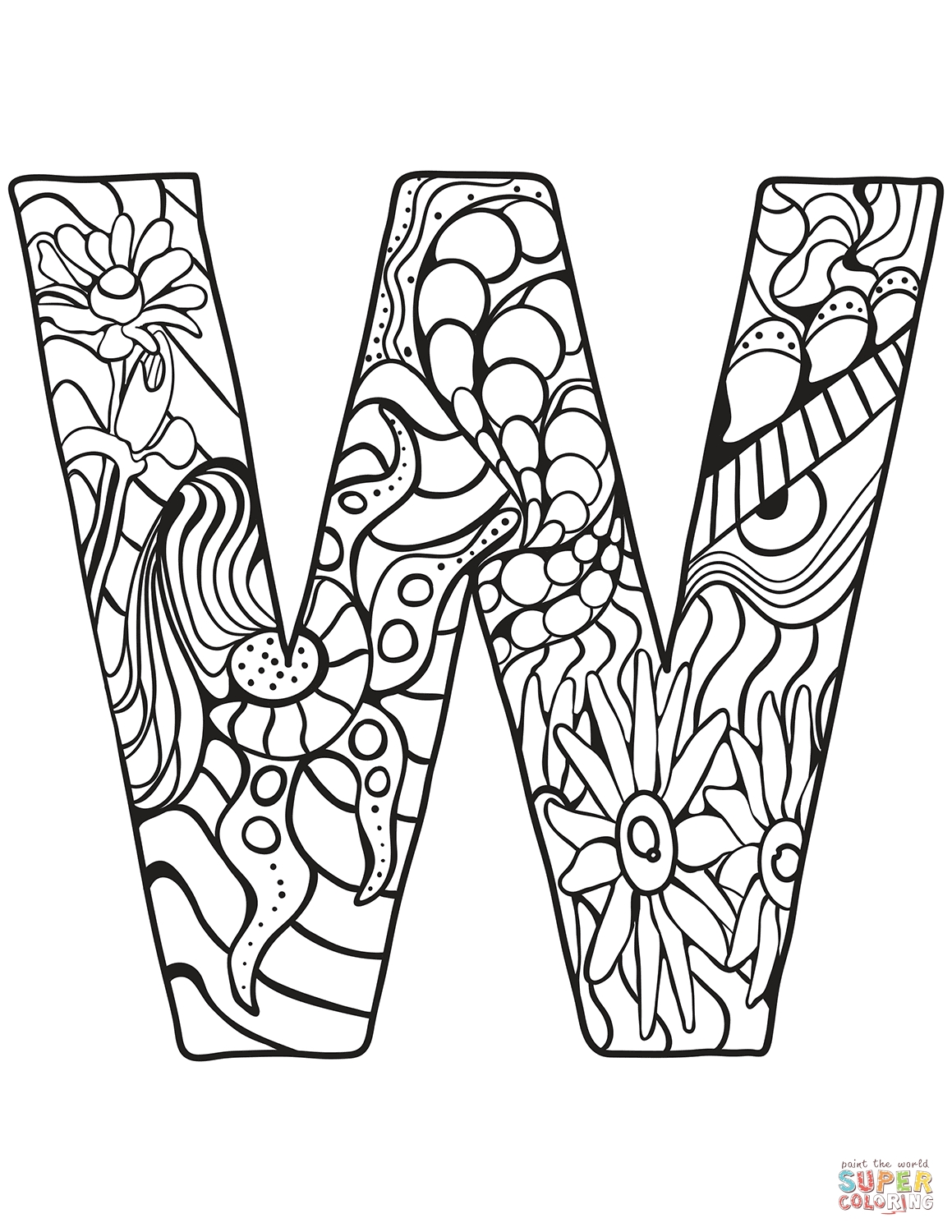 1159x1500 Awesome Zentangle Letter A Coloring Pages Collection Free