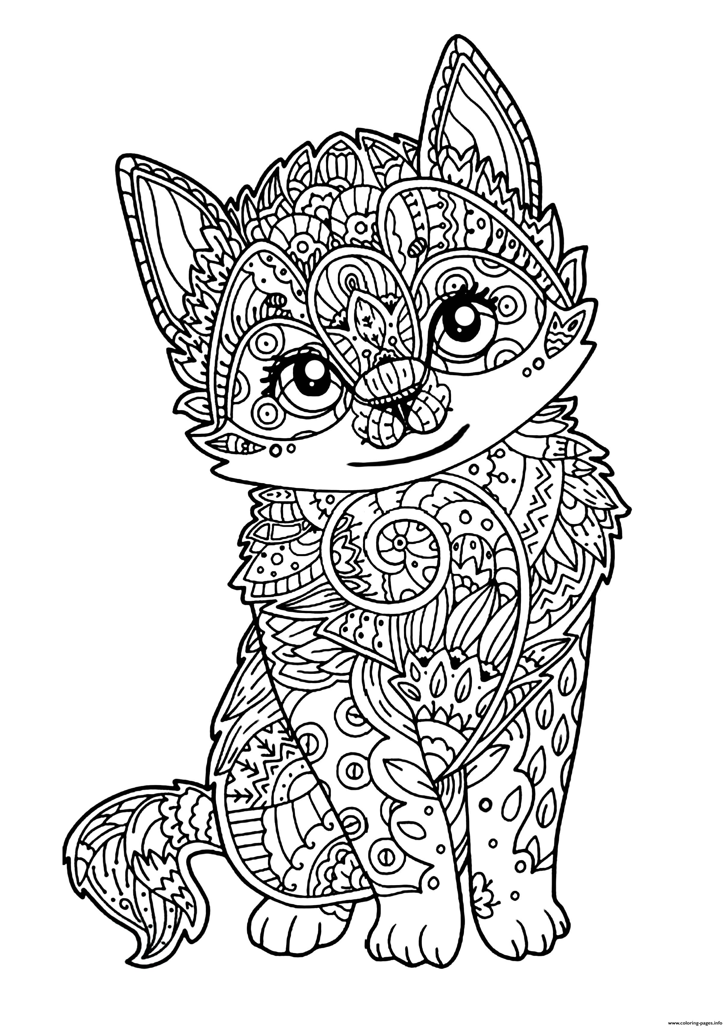 2420x3416 Cute Cat Adult Epic Zentangle Coloring Pages