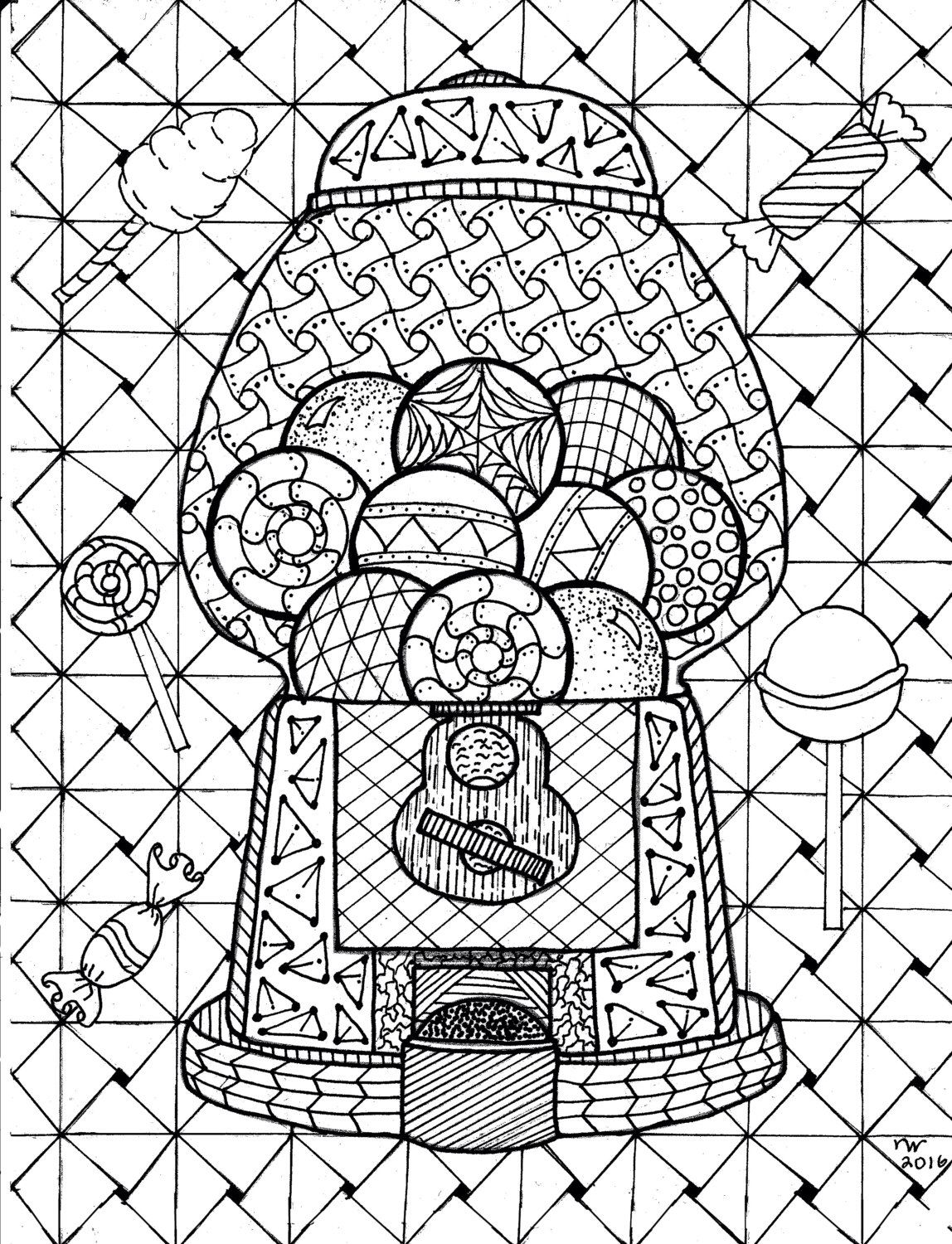 1148x1500 Gumball Machine Zentangle Coloring Page