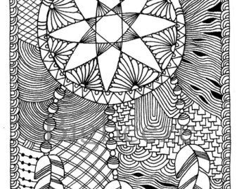 340x270 Zentangle Christmas Tree Coloring Pages Adult Coloring