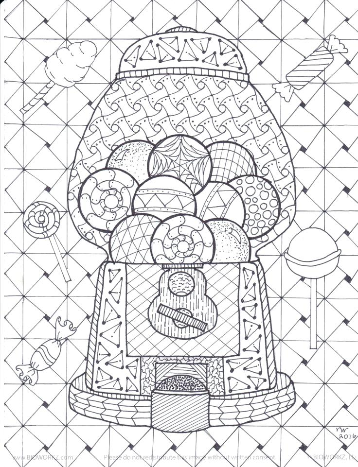 736x961 Zentangle Coloring Book Gumball Machine Coloring Page