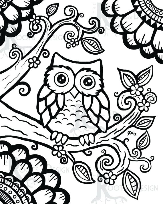 570x713 Zentangle Coloring Pages Drawn Owl Coloring Page Christmas