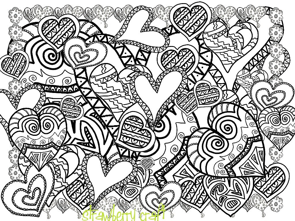 1024x768 Zentangle Inspired Hearts Hearts Line Art Heart Coloring
