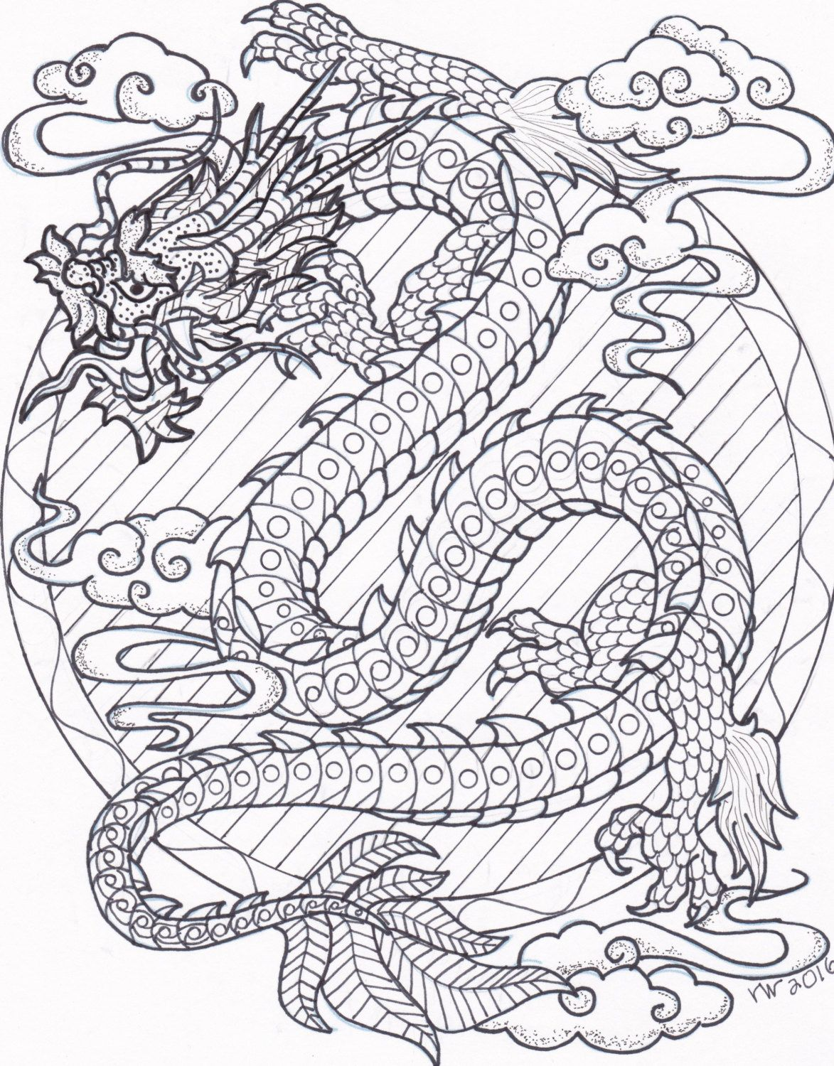 1173x1500 Coloring Page, Zentangle, Chinese Dragon Digital Coloring Pdf
