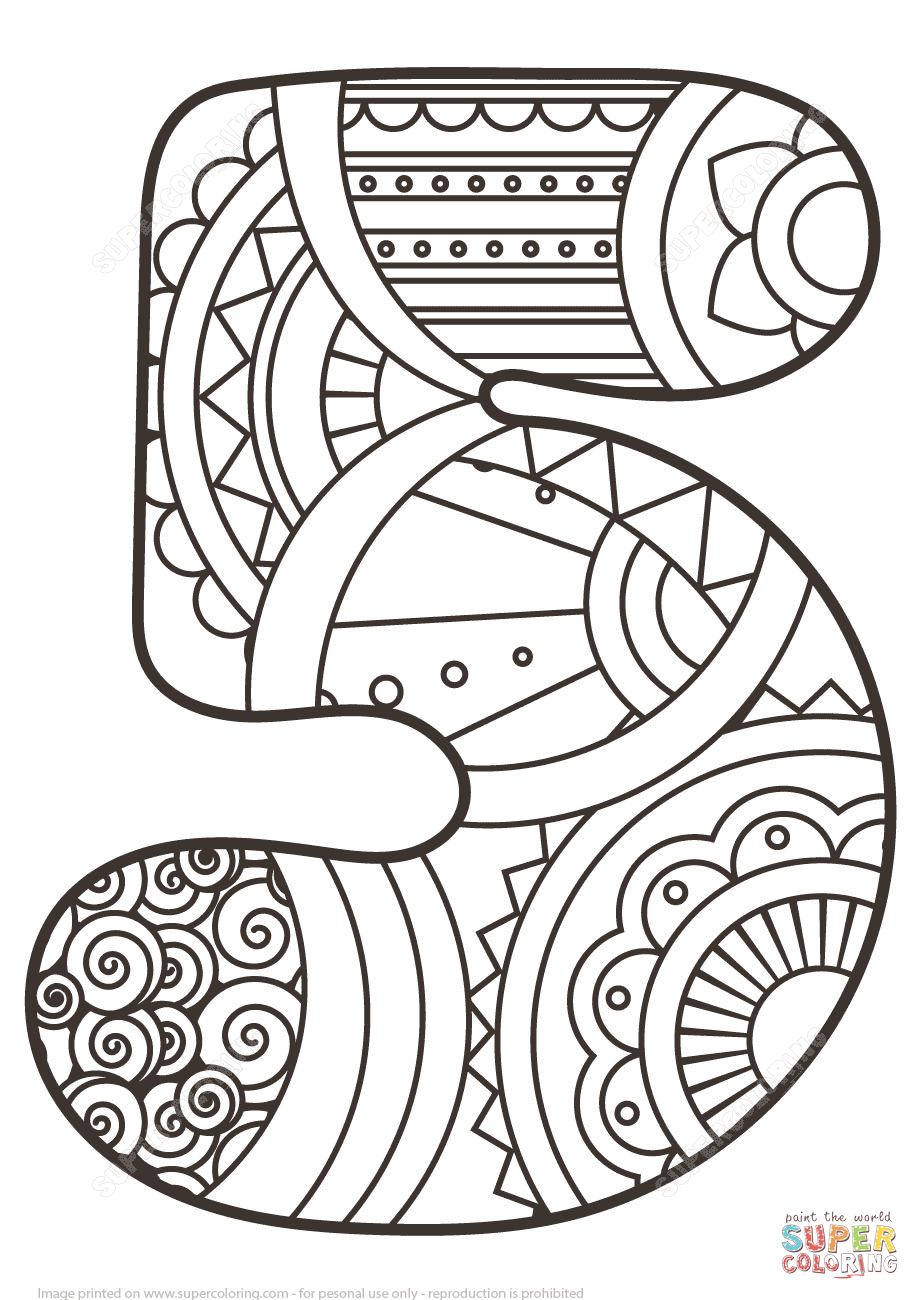 920x1300 Number Zentangle Coloring Page Free Printable Pages