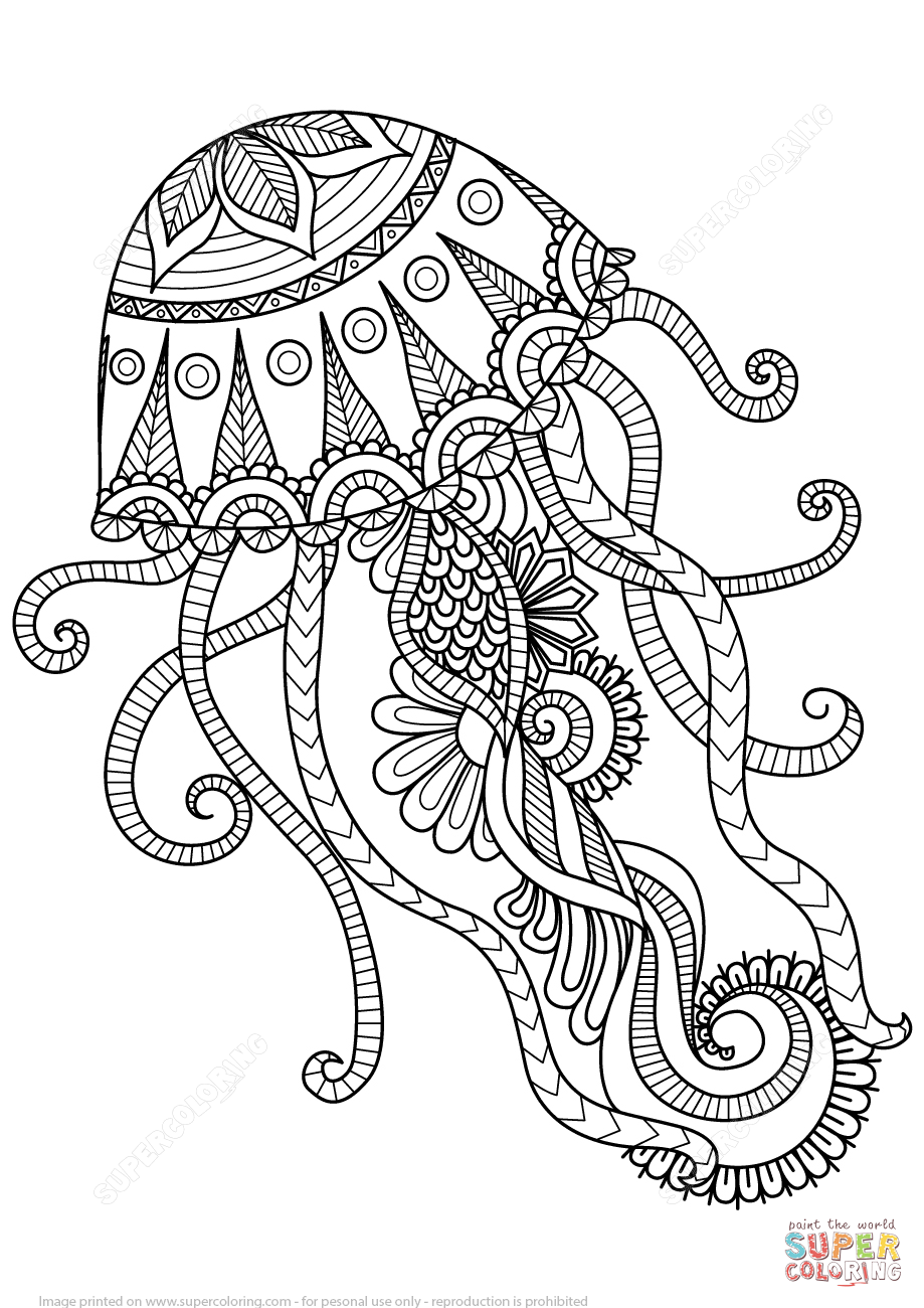 919x1300 Tremendous Zentangle Coloring Pages Jellyfish