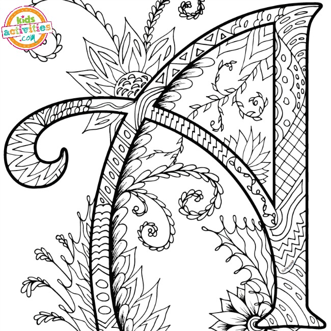 650x650 Alphabet Zentangles Coloring Pages For Adults