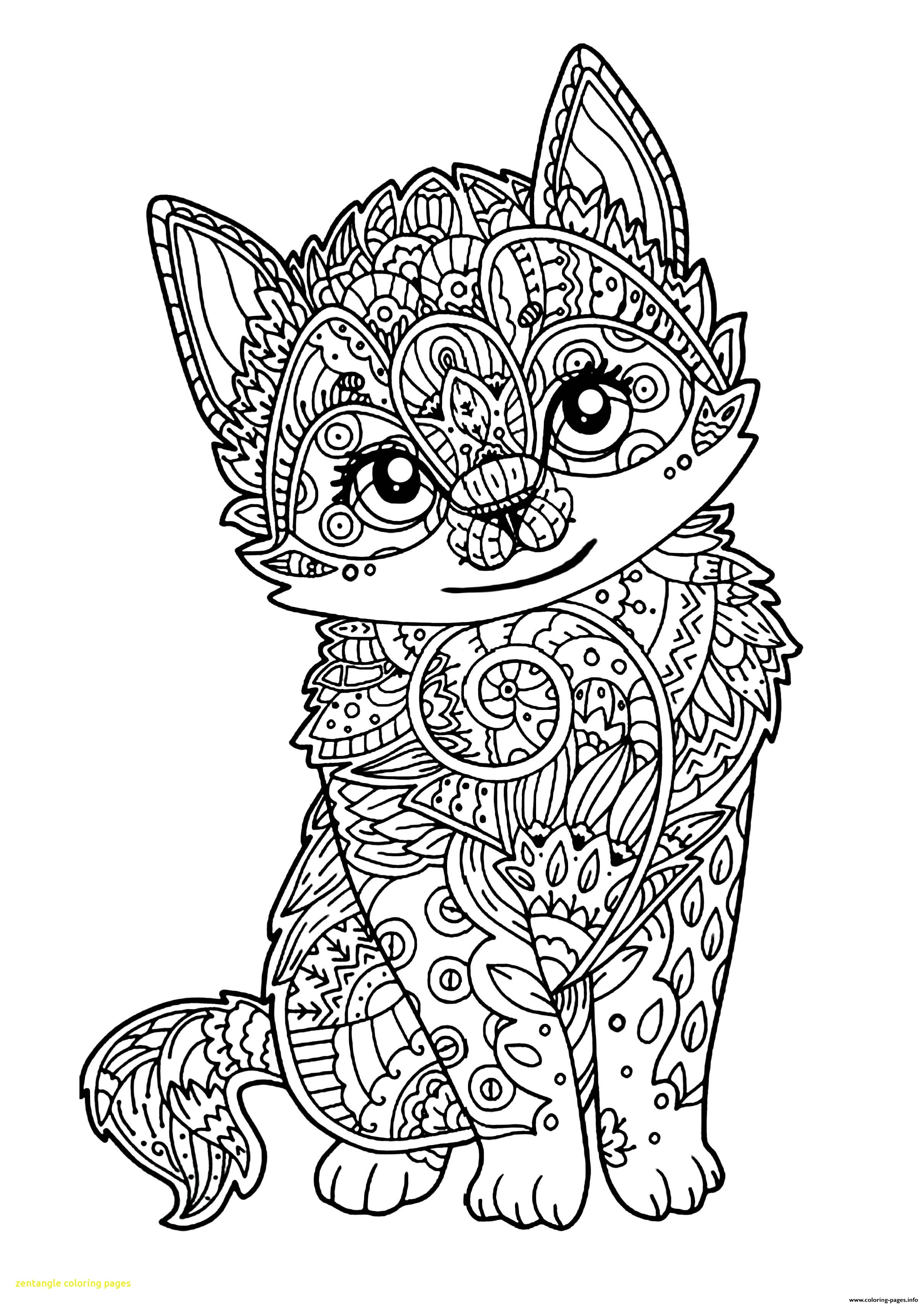 2420x3416 Zentangle Coloring Pages With Cute Cat Adult Zentangle Coloring