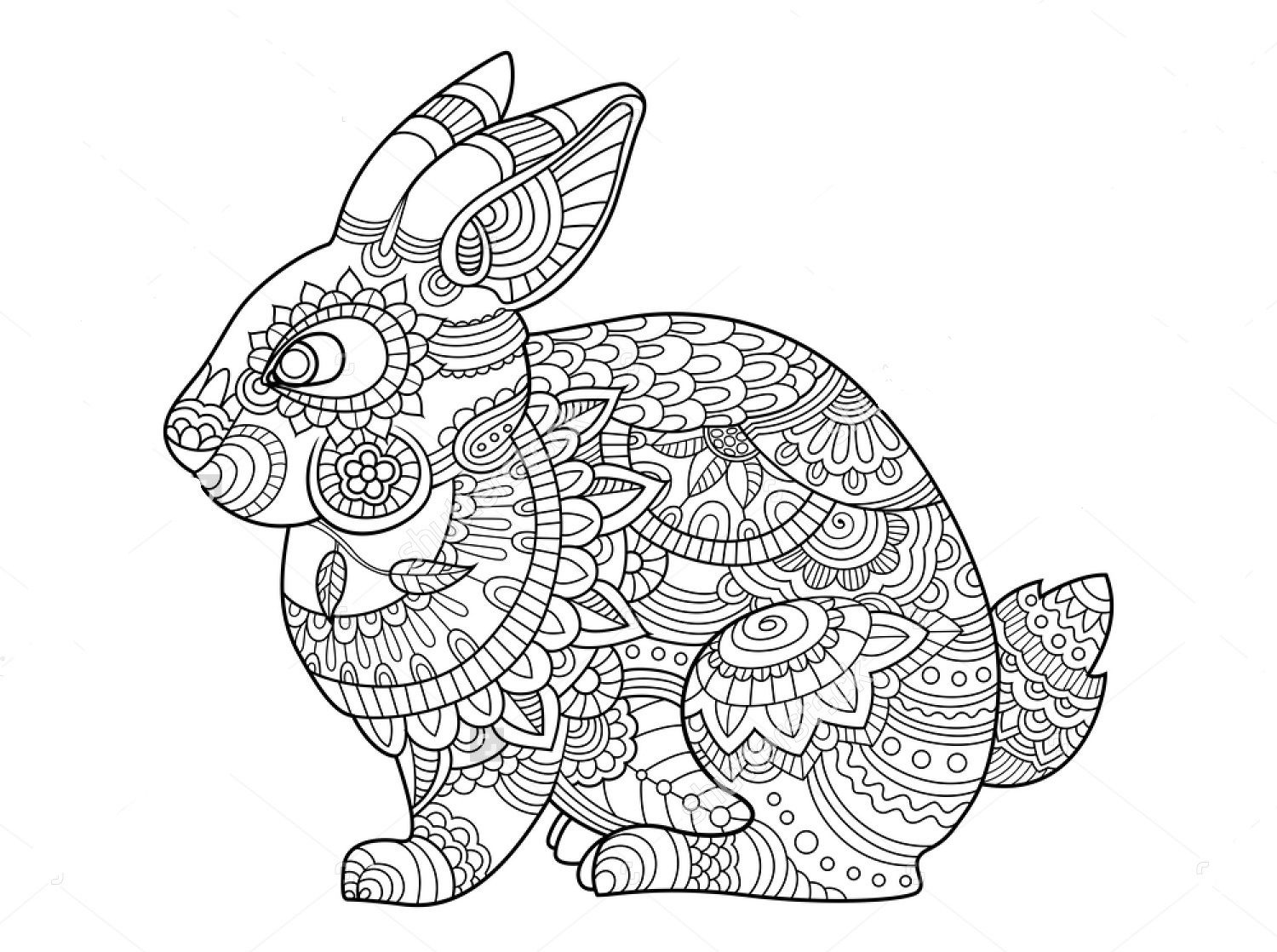 1500x1118 Awesome Rabbit Zentangle Coloring Page Art Free