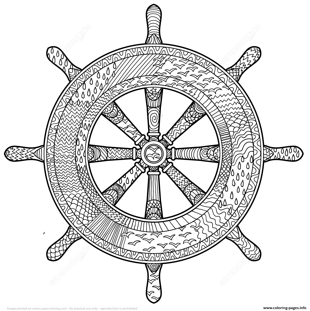 1300x1304 Marine Handwheel Zentangle Adults Coloring Pages Printable
