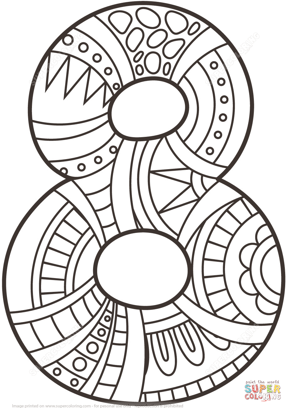 919x1300 Number Zentangle Coloring Page From Zentangle Numbers Category