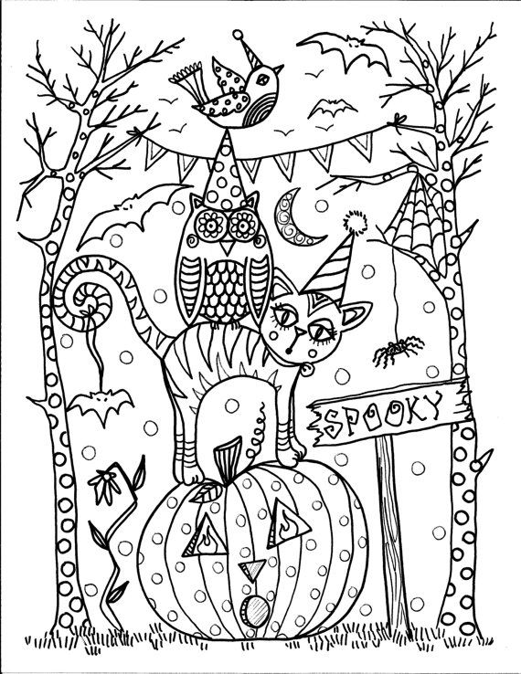 570x738 Spooky Coloring Page Pen And Inkcolor Me