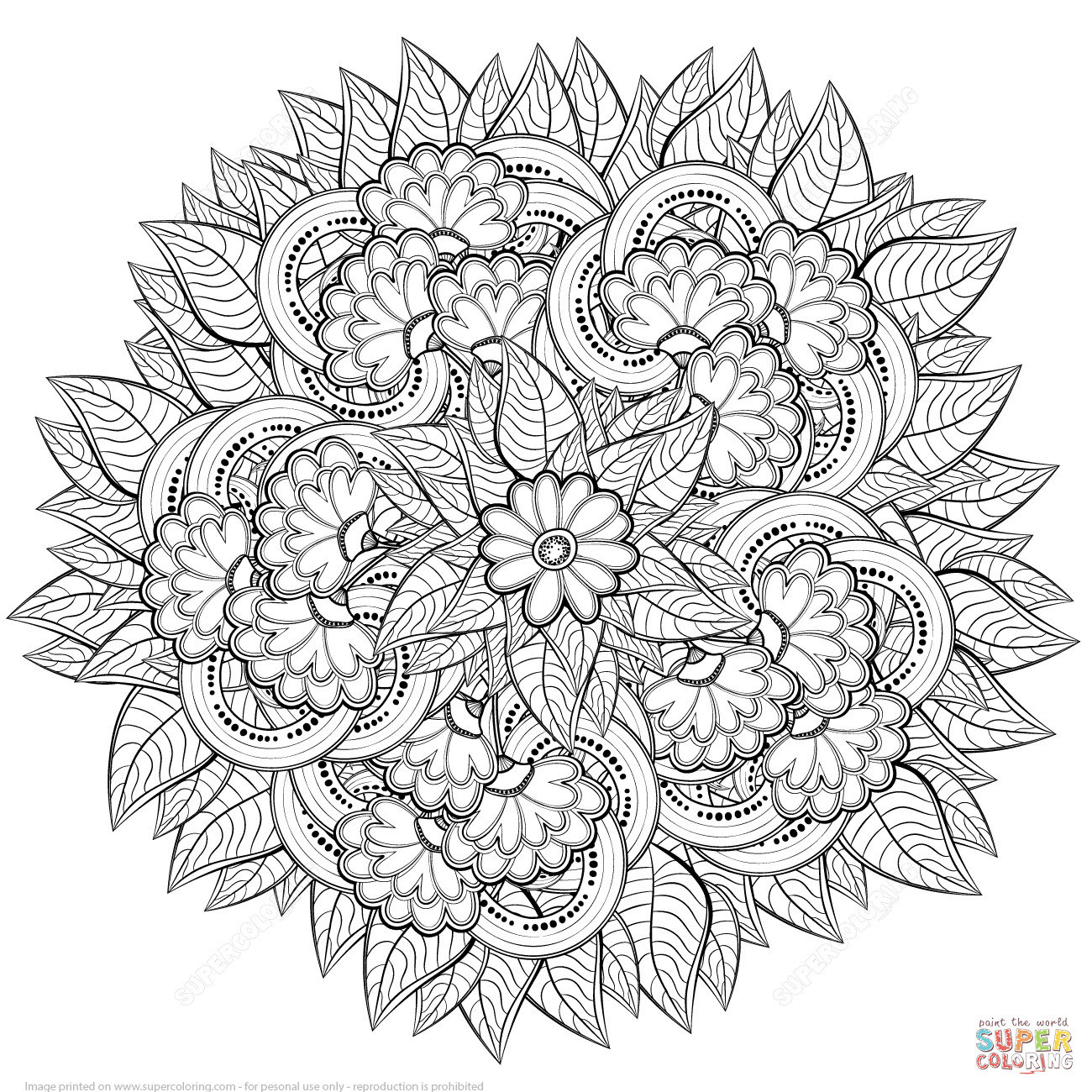 1300x1300 Zentangle Coloring Page Acpra