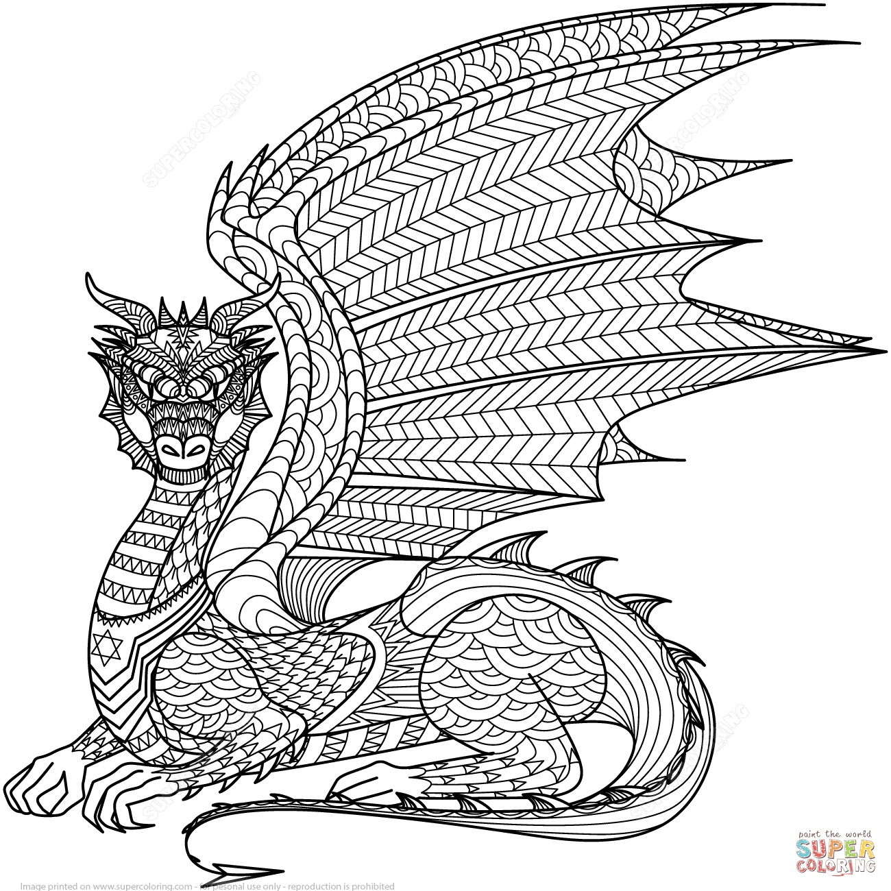 1300x1300 Coloring Pages Of Dragons New Dragon Zentangle Coloring Page
