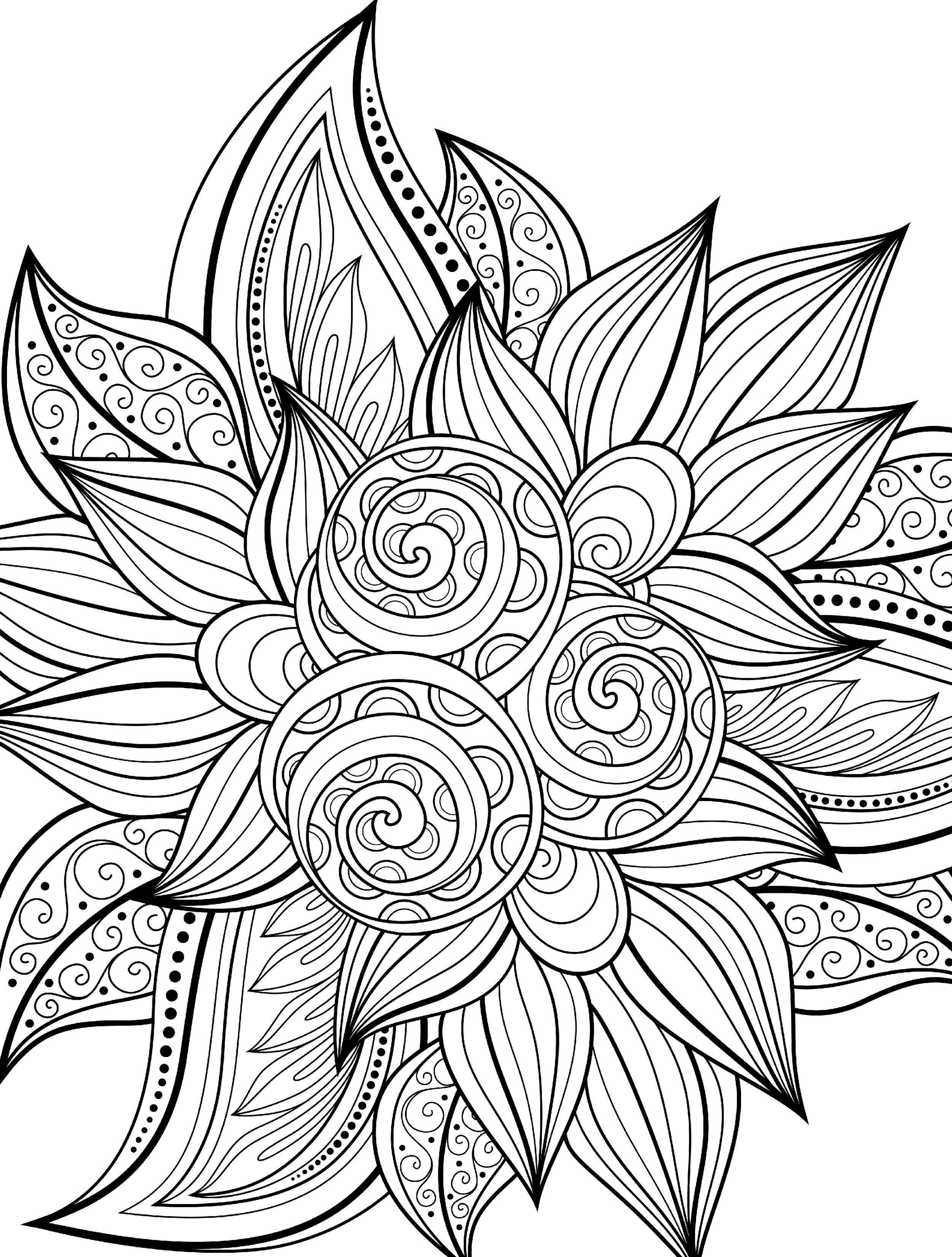 2500x3300 Awesome Top Adult Flower Coloring Pages Collection Printable